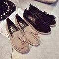 Vento britânica Sapatos de Cabeça Redonda Saltos Baixos das Mulheres Borla Sapatos Única Mulher Sapatos de Camurça Apartamentos Sapatos Outono Sapatos Casuais Zapatos Mujers