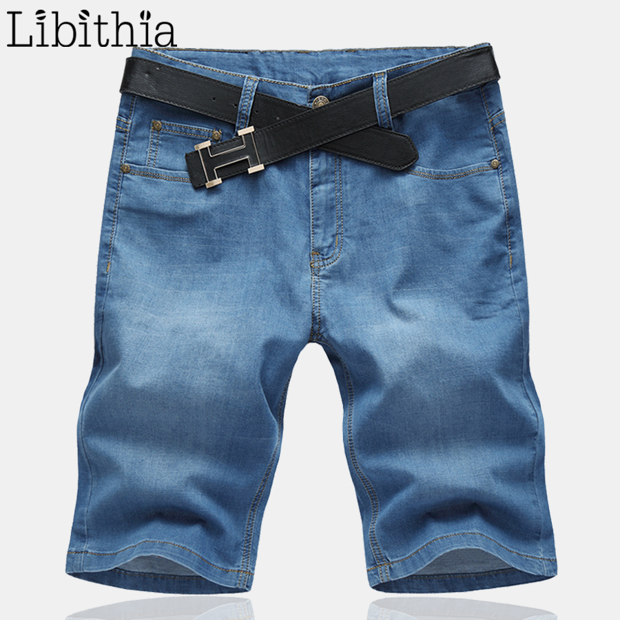 Men Thin Denim Shorts Loose Casual Cotton Shorts Mid Waist Plus Size 32-52 Straight Jeans Style Summer 2017 New Stretchy G027