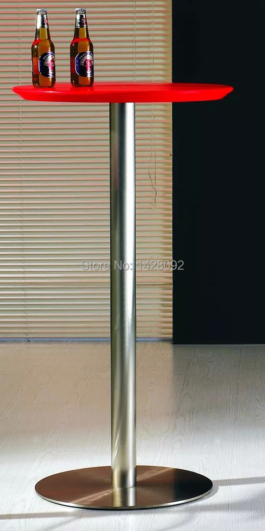 fashion modern outdoor round ABS top brushed steel high cocktail table bar table LQ- C65 outdoor stainless steel wraped bar table top dining table top table top wholesale