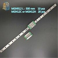 JARBLUE 10 PCS 12mm Linear Guide MGN12 L = 500mm linear schiene weg + 20 PCS MGN12C oder MGN12H Lange linear wagen für CNC X Y Z Achse