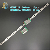 JARBLUE 10PCS 12mm Linear Guide MGN12 L= 500mm linear rail way +20PCS MGN12C or MGN12H Long linear carriage for CNC X Y Z Axis