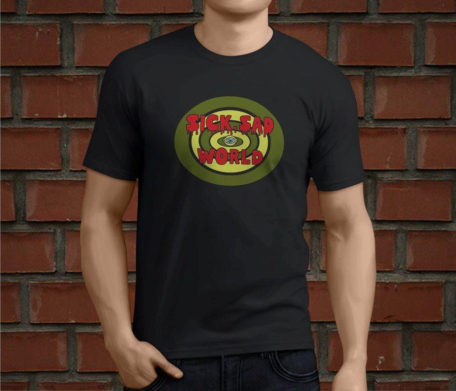 Hot Daria Sick Sad World Mens Black Printed T-Shirt Boys Top Tee Shirt Cotton