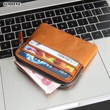 SIMLINE мужской кошелек из натуральной кожи, мужские винтажные Короткие Кошельки на молнии с передним карманом, тонкий мини кошелек для монет, держатель для карт, карман для женщин