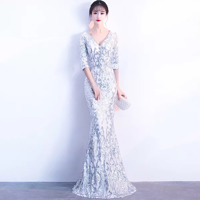 895fad66 D056 luxury elegant half sleeves v back floor length long mermaid sequin  dress-in Dresses from Women's Clothing on Aliexpress.com | Alibaba Group