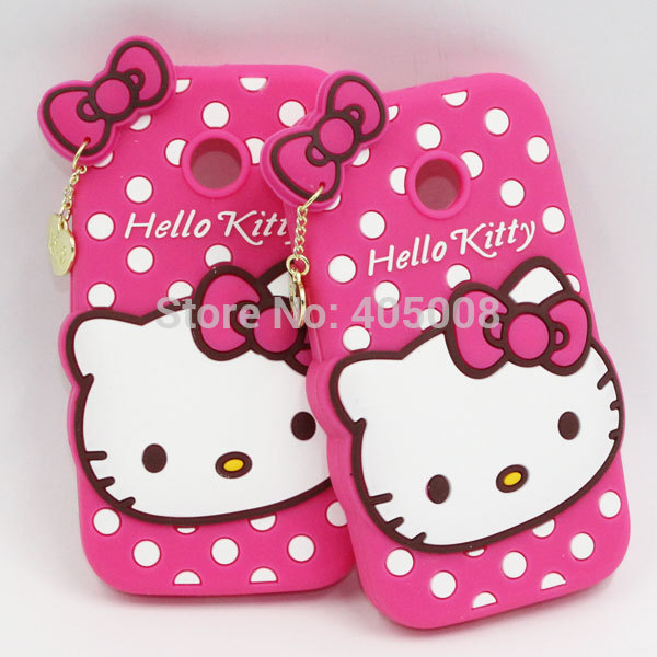 online store 60a12 8468d US $45.0 |3D Lovely Cute Hello Kitty Silicon Back Case For Motorola Moto E  XT1021 XT1022 Bowknot Soft Cover For Moto E Cute Silicone Case on ...