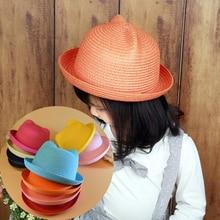 Cat Ears Straw Hats Fashion Cute Women Summer Straw Hats Chapeau Femme Ladies Handmade Sun Beach Cap Drop Shipping