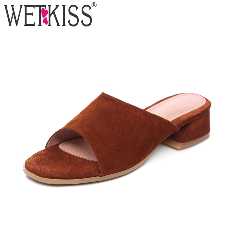 114eb156b1 WETKISS 2018 Summer Women Slippers Open Toe Slides Sheepskin Footwear Thick  Heels Fashion Casual Ladies Mules