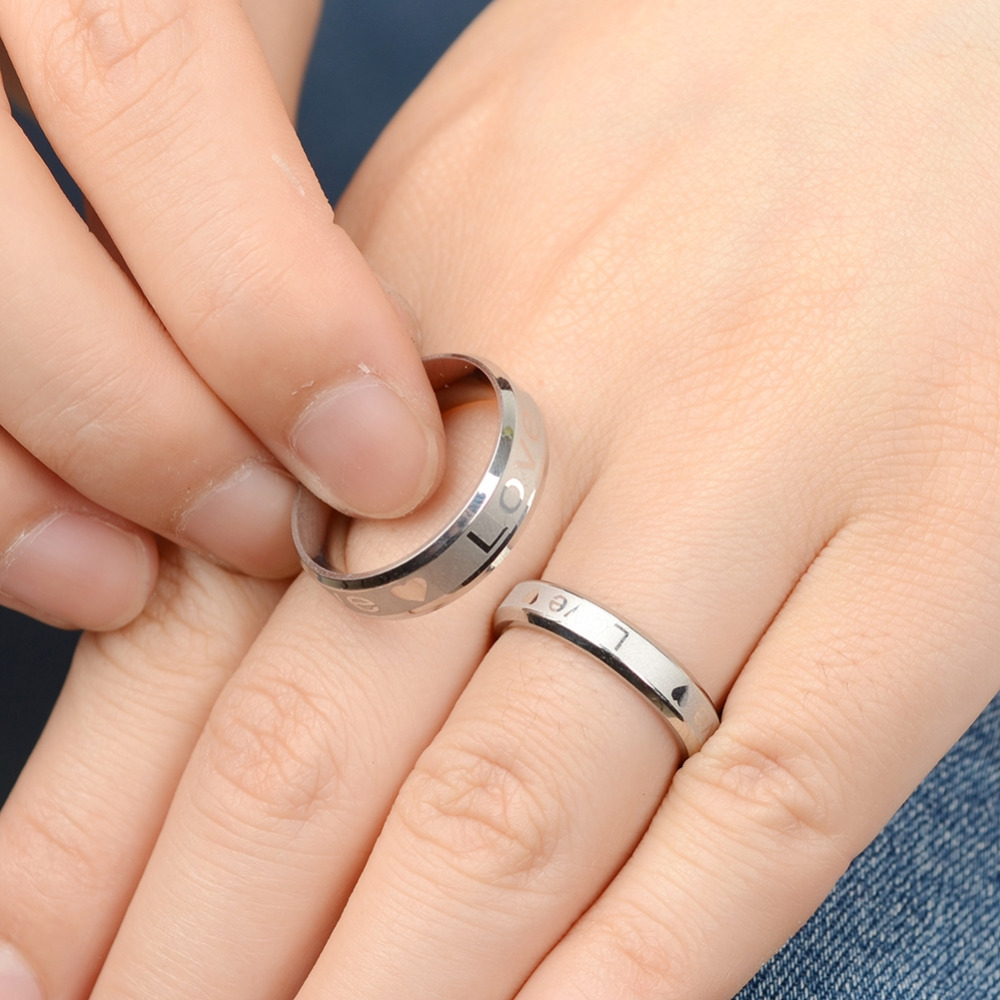 Pcs Fashion Men Women Love Letters Couple Rings Lovers Wedding