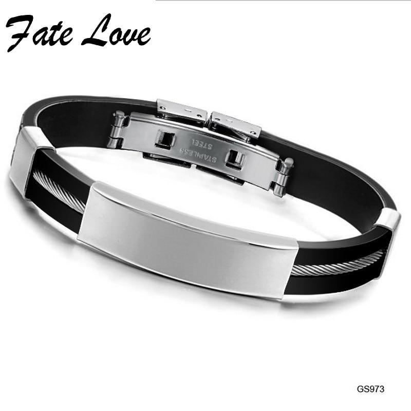 Fate Love First Class Silicagel Bracelet Man Fashion Jewelry 19 mm Charm Type Bracelet Customerized Engraved Free Shipping FL973