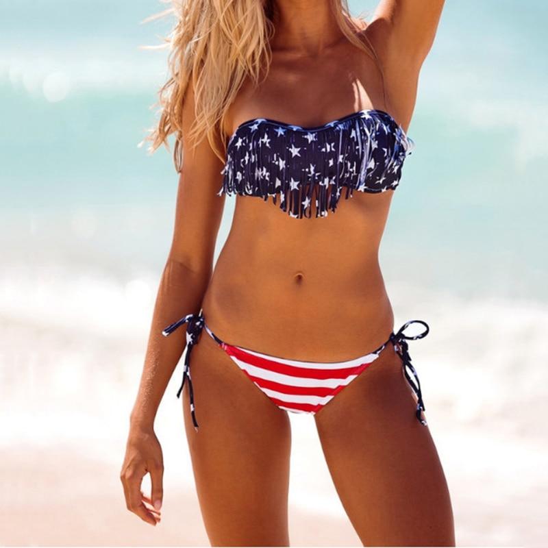 New USA American Flag Print Swimwear Biquinis Women Sexy Bandage Swimsuit Bikinis Set Trikini Beach Bathing Suit Tankini
