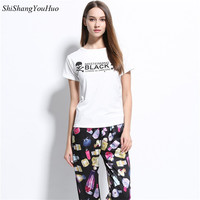 2017 New Summer Women Cotton Casual T-Shirts Round Neck Short Sleeve Printed Slim Tees Lady Loose Tops Fashion White T-Shirts