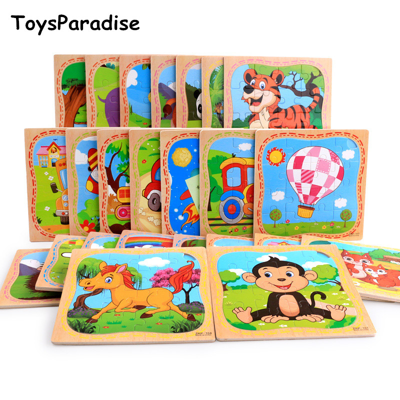 Baby Toys 16Pcs Cartoon Vehicle/Animal Puzzles Wooden Toys For Kids Have Base Map Children1-2-3-4Years Old Educational Gift