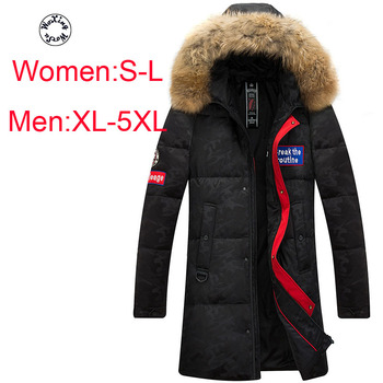 Woxingwosu down coat men's and women's outfits, outdoor wear down jacket raccoon fur collar girl's S to L and men's XL to 5LX woxingwosu girl s hooded down coat large code light down jacket female short super light and thin s to 4xl 5xl xl 7xl 8xl