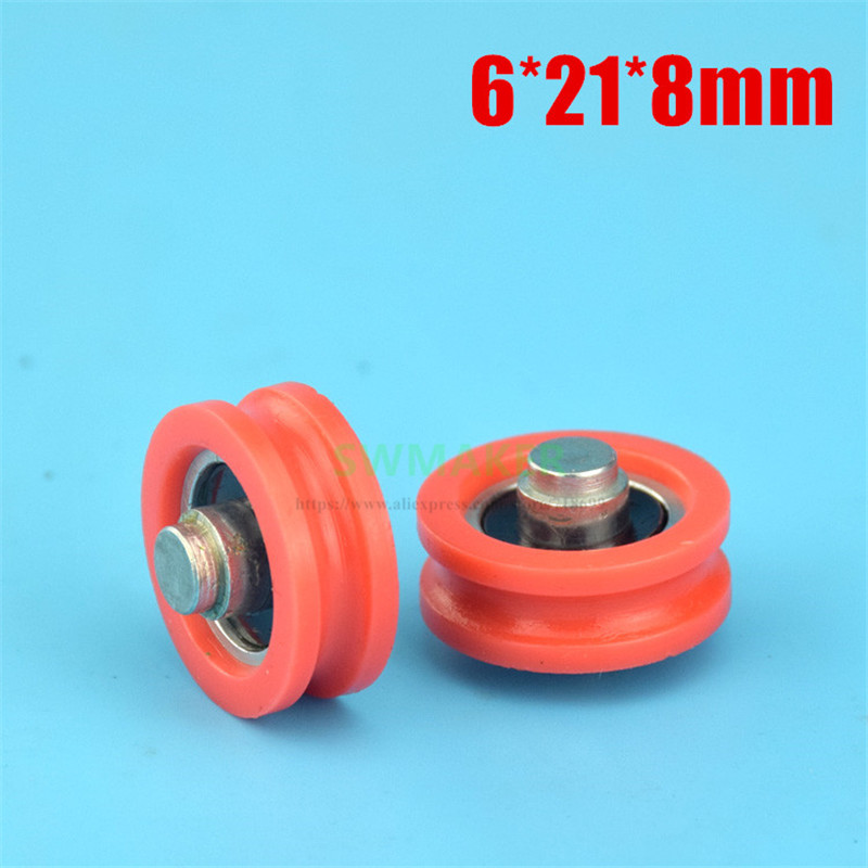 1pcs 6*21*8mm Door And Window Pulley, Plastic Nylon Pulley With Shaft Core, U-grooved Bearing Pulley Good Taste