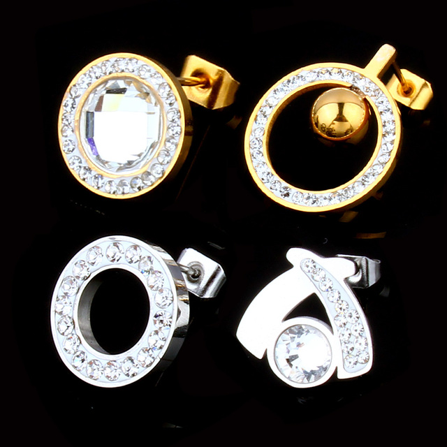 SHE WEIER Stainless Steel Earrings Crystal Earrings 2018 Korean Fashion Women Studs Titanium Minimalist Earing Female Small