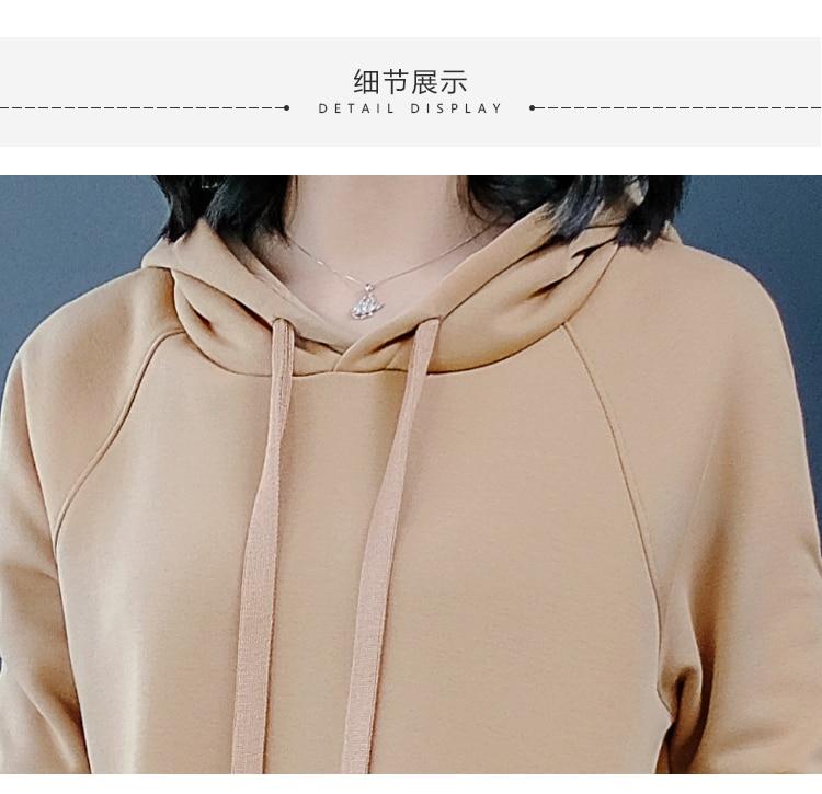 325a455dbb014 Khaki hooded t shirt dress women plus size female elegant midi dre...