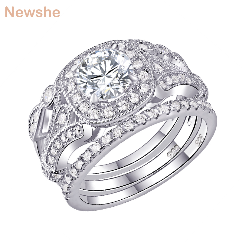 Wedding Rings Sets.Us 21 74 13 Off Newshe 3 Pcs Wedding Ring Sets Classic Jewelry 925 Sterling Silver 1ct Round Aaa Cz Engagement Rings For Women Size 5 12 In Rings