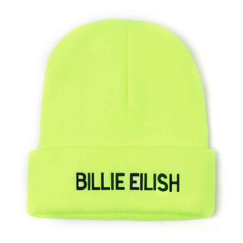 Broderie Billie Eilish Beanie chapeau femmes hommes tricoté chaud hiver chapeaux pour femmes hommes solide Hip-hop décontracté à revers bonnets Bonnet
