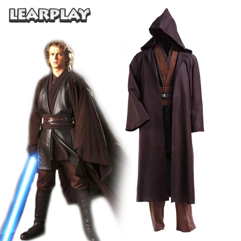 Star Wars  Anakin Skywalker Jedi Cosplay Costume Coffee Cloak Tunic Robe Man Halloween Uniform Sets for Adult Kids
