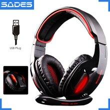 Original SADES SA 902 Snake 7 1 Wired USB Luminous PC Game Headset Over Ears Headphones