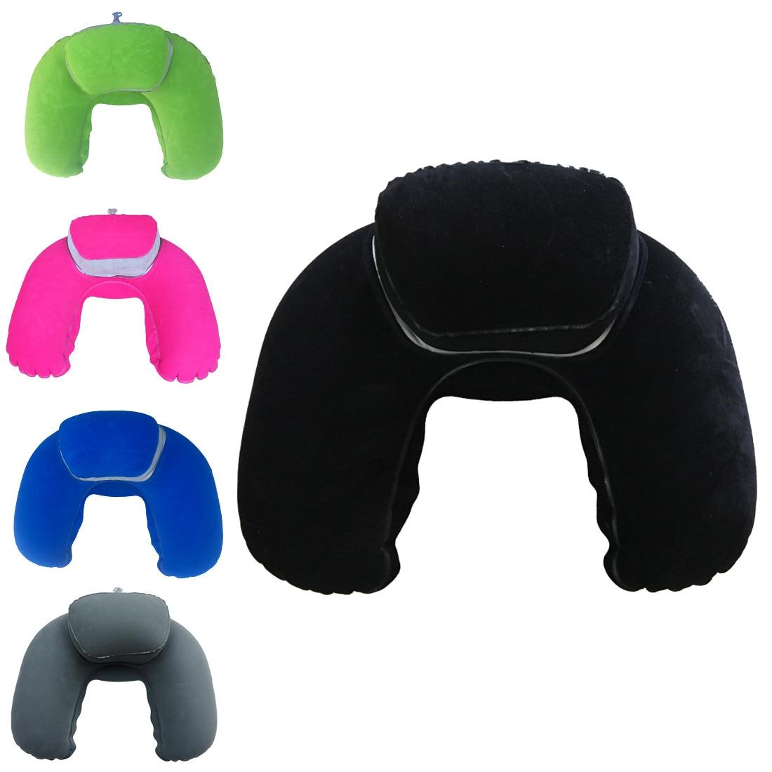 Travel Pillow Neck Pillow U-car Breathable Flight Inflatable Pillow Neck Support Headrest Cushion Soft Care Cushion Pillowcase