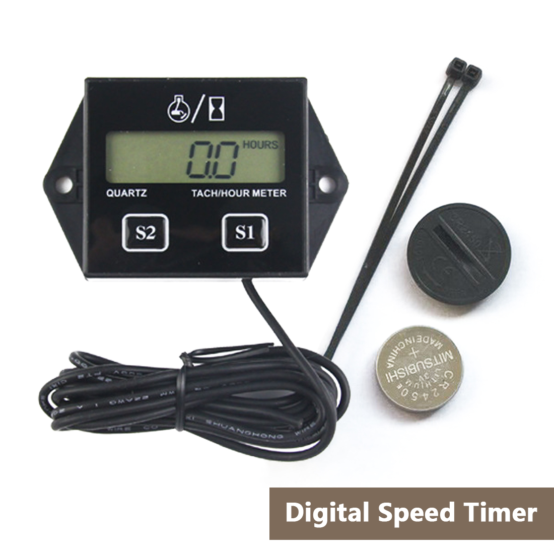 Digital Engine Tach Hour Meter Tachometer Gauge Inductive Display For Motorcycle Motor Marine Chainsaw Pit Bike Boat