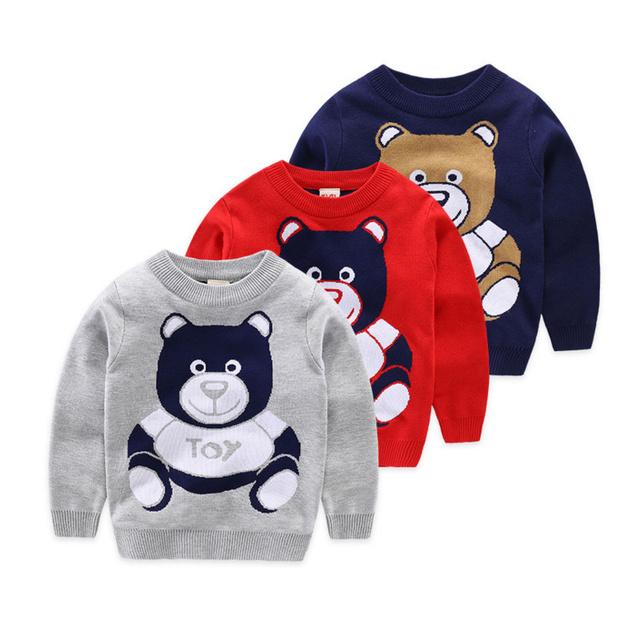 2016 Otoño Invierno de Las Muchachas Niños Suéter Trajes Niños oso de Dibujos Animados de Punto Ocasional Outwear Ropa Boy Manga Larga Pullover sweater