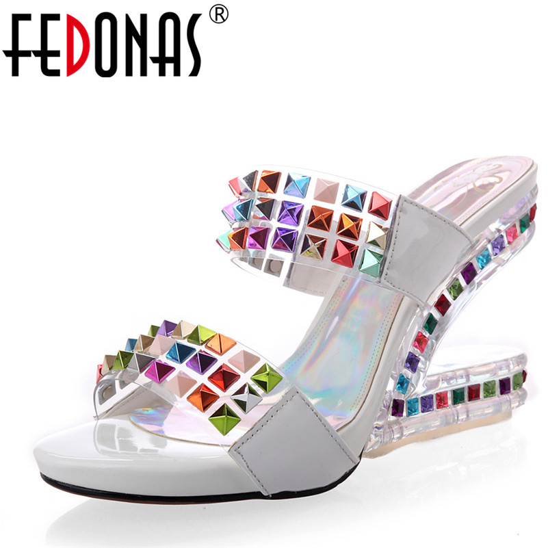 FEDONAS Summer Sandals Colorful Rhinestone Women Genuine Leather Wedding Party Shoes Woman High Heels 9.5 cm Sexy Sandals fedonas sexy punk black women genuine leather shoes woman sandals summer buckles rivets party shoes female platforms sandals