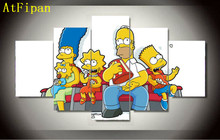 Atfipan Cartoon Simpsons Poster Group Painting On Canvas Pictures For Living Room Home Cuadros Decoracion Modular Wall Paintings