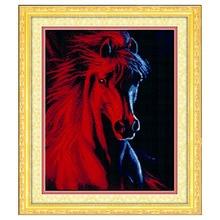 Handarbeiten, diy dmc kreuzstich, gezählt Stickerei Kits, 3D Rote pferd Muster Kreuzstich Auf Lager Heißer Verkauf