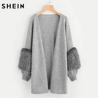 SHEIN Contrast Faux Fur Sleeve Open Front Cardigan Winter Sweater Women Long Sleeve V Neck Long