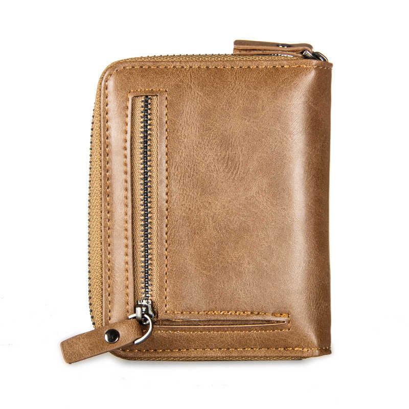Мужской кошелек из искусственной кожи с держателем для карт, короткий кошелек на молнии, высококачественный мужской кошелек для карт, простой удобный Стандартный кошелек