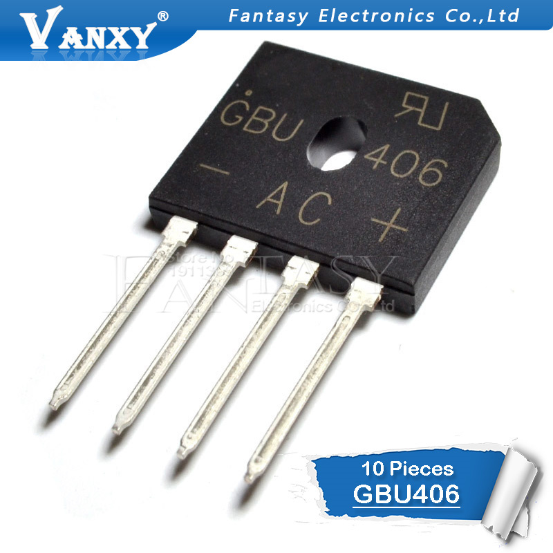 10PCS GBU406 600V 4A New And Original IC