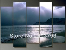 5pc seaside art deco wall modern abstract oil painting  no stretched free shipping
