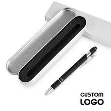 1pc Metal Multifunction Press Ballpoint Pens Aluminum Gift Pen Capacitance Handwriting Touch Screen Pen Custom LOGO With Pen Box