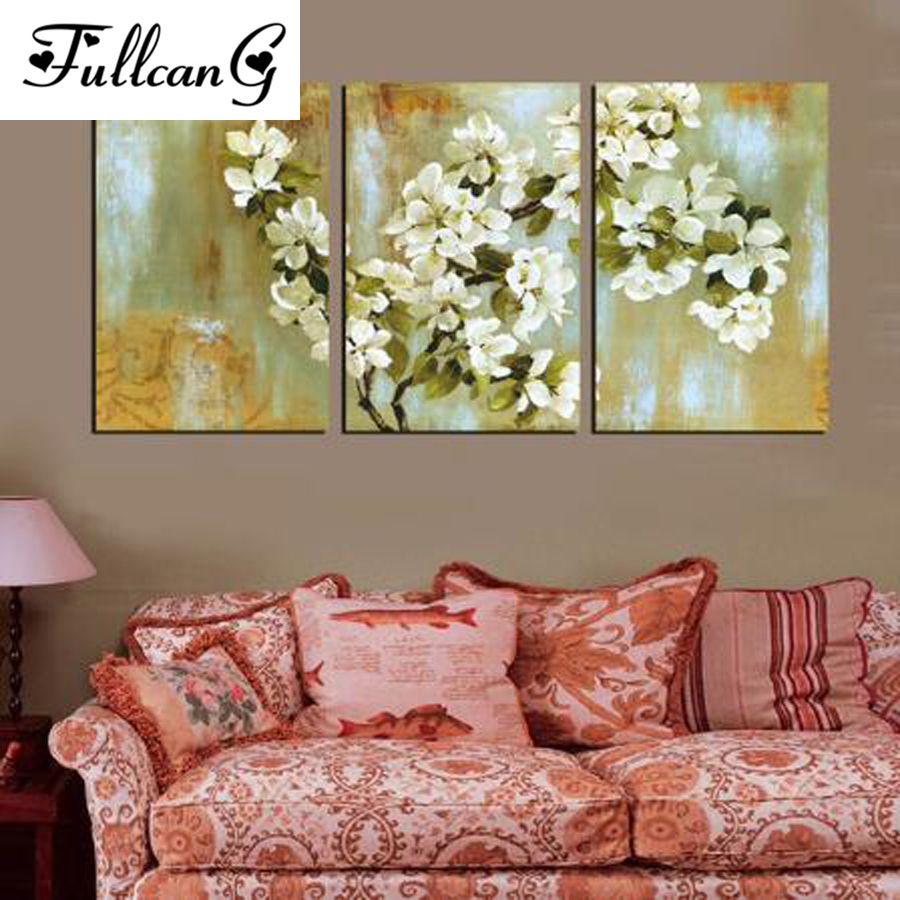 FULLCANG mosaic diamond embroidery white flowers painting cross stitch triptych floral full square rhinestone E1117