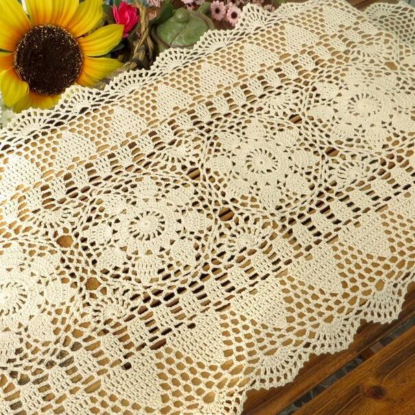 Flores de ganchillo hecho a mano mantel tejido hueco rectangular ...