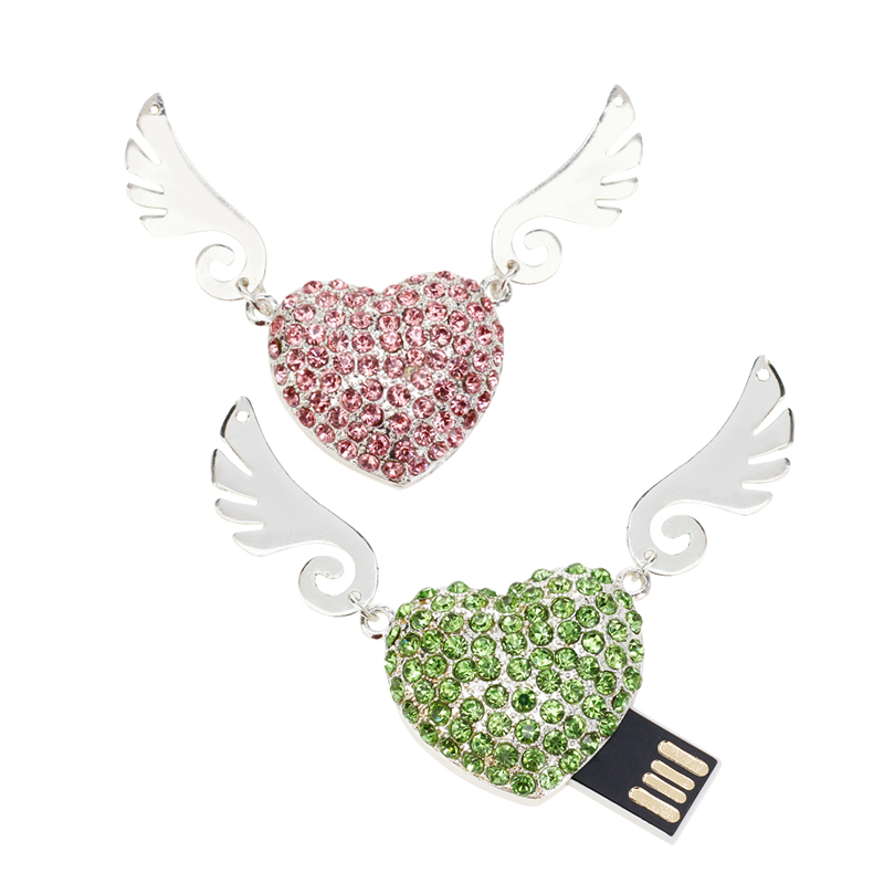 Image 2 - Usb Flash Drive 32GB Crystal Angel Wings Pen Drive 4GB 8GB 16GB 64GB 128G Pendrive Usb 2.0 Memory Stick High Quality Thumbdrives-in USB Flash Drives from Computer & Office