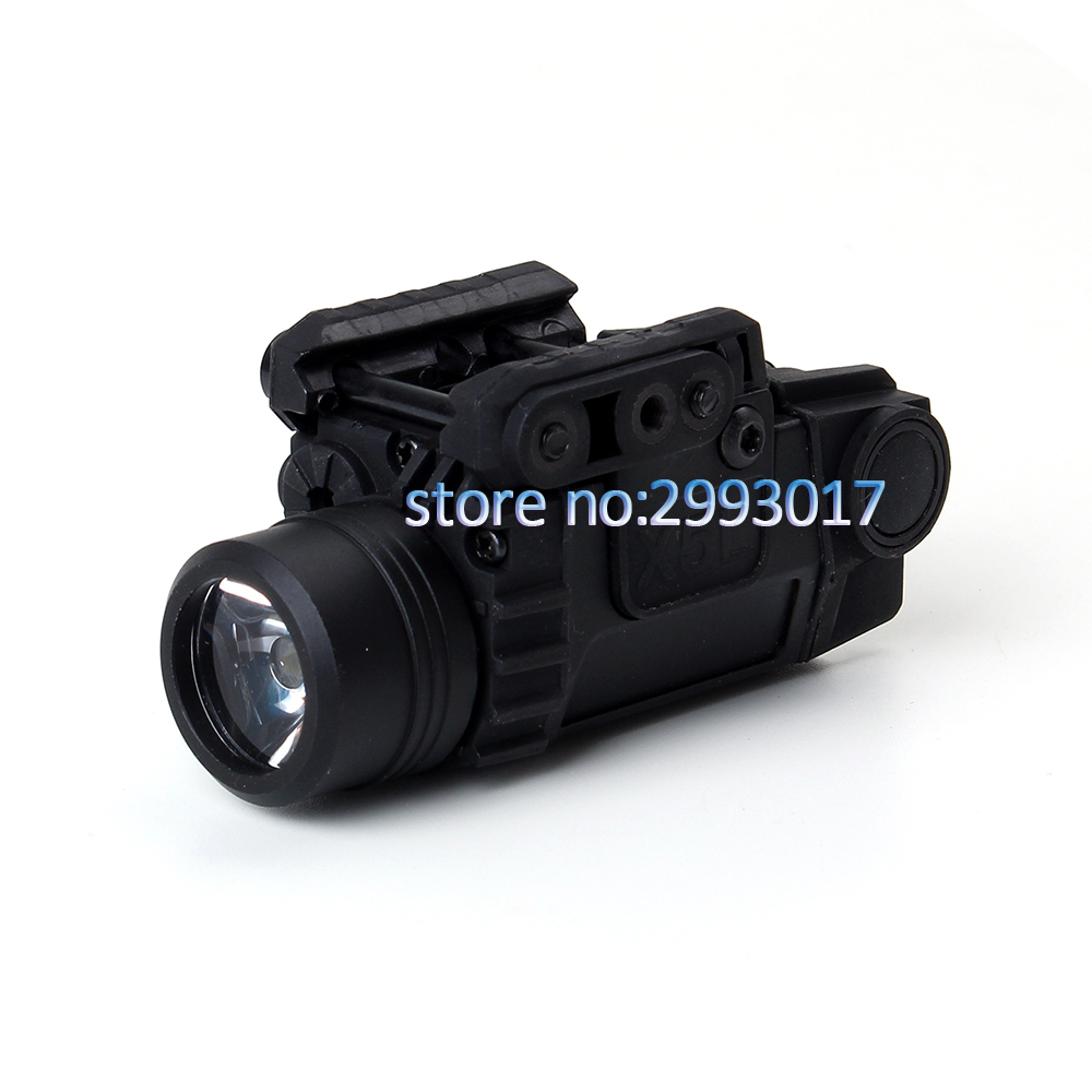 Tactical LED Flashlight X5L White Light 190 lumens Integrated Green Laser Sight 20mm Picatinny Rail Shooting Hunting Light x300v led flashlight black tan color 150 lumens white light for hunting shooting cl15 0070