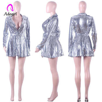 Silver Sparkling Sequined Deep V Neck Dress Women Turn Down Collar Long Sleeve Micro Pleated Belt Party Nightclub Mini Dresses