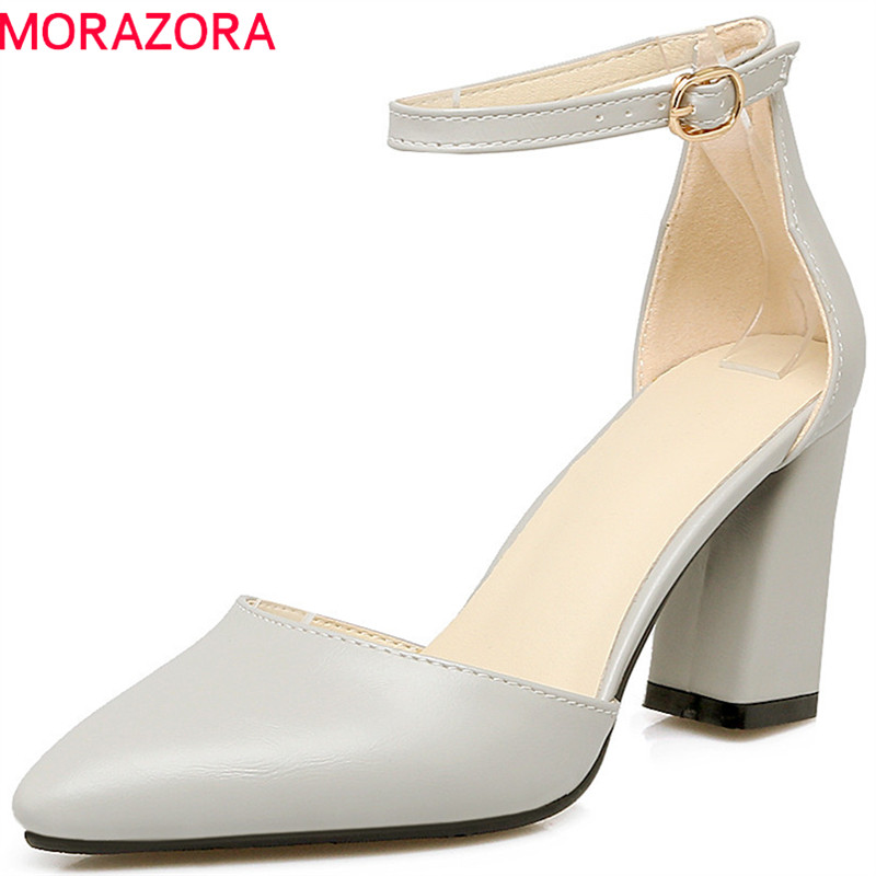 MORAZORA 2018 hot sale pumps women shoes pointed toe summer shoes simple buckle fashion lady shoes high heels shoes woman morazora hot sale new arrival pointed toe women sandals high heels shoes woman summer shoes party sexy fashion popular