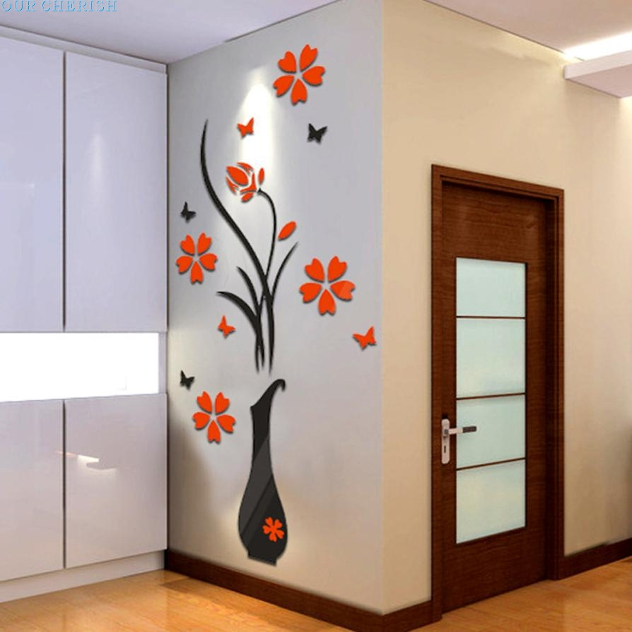 Fashion Heaven Diy Vase Flower Tree Crystal Arcylic 3d Wall Stickers Decal Home Decor Wallpaper