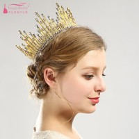 2019 New European Bridal Crown Wholesale Full circle of pearls Bride crown Wedding accessories Crown hair accessory DQG672