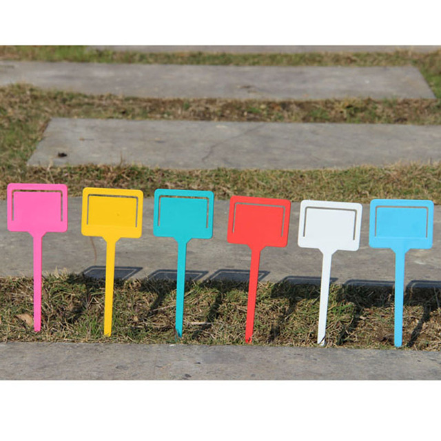 New 10PCS Plastic T-type Garden Gardening Label Plant Flower Nursery Label Tag Marker Thick 5 Color PTSP