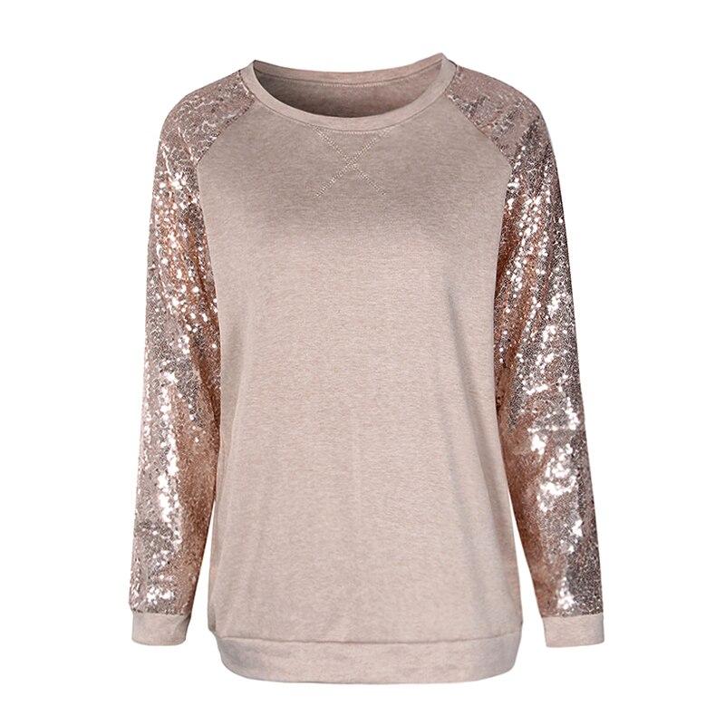 Donne Sequine T Shirt Primavera del 2018 di Modo Manica Lunga T-Shirt Casual Allentato Femminile Blusas Patchwork O-Collo Magliette e camicette WS5134C
