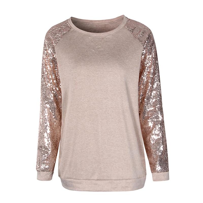 Frauen Sequine T Hemd Frühling 2018 Mode Langarm T-Shirt Beiläufige Lose Weibliche Blusas Patchwork Oansatz Tops WS5134C