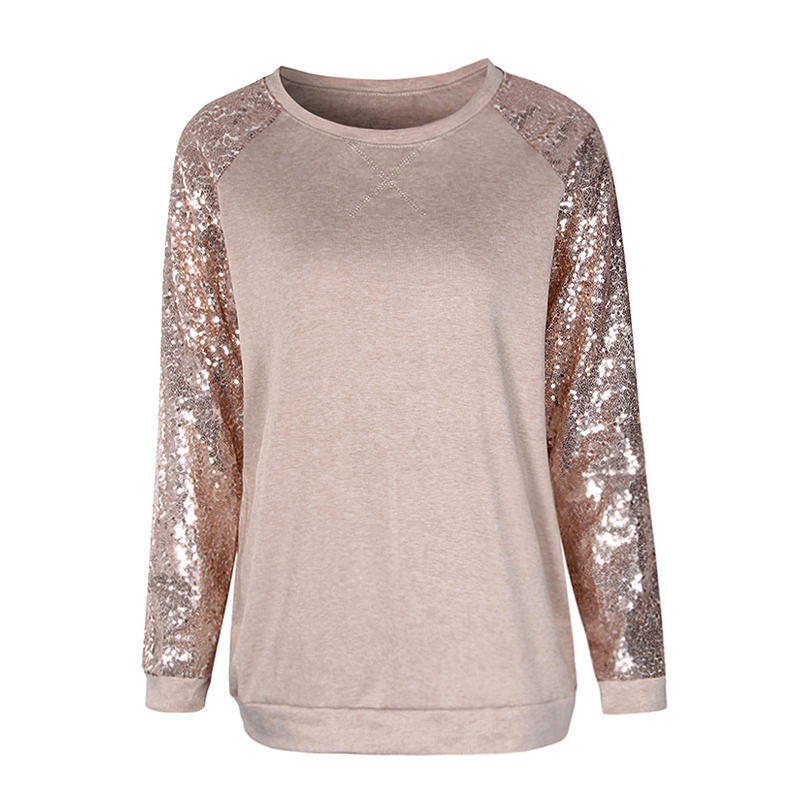 Mujeres Sequine camiseta primavera 2018 moda de manga larga Camiseta suelta informal Blusas Patchwork o-cuello Tops WS5134C