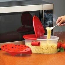 Perfeito macarrão fogão resistente ao calor pp barco micro-ondas steamer barco filtro macarrão microondas cozinha ferramentas espaguete tigela