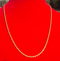 WOMEN S 2 Mm Thin Yellow Gold 24k Overlay Fine French Rope Long Twisted Necklace Chain