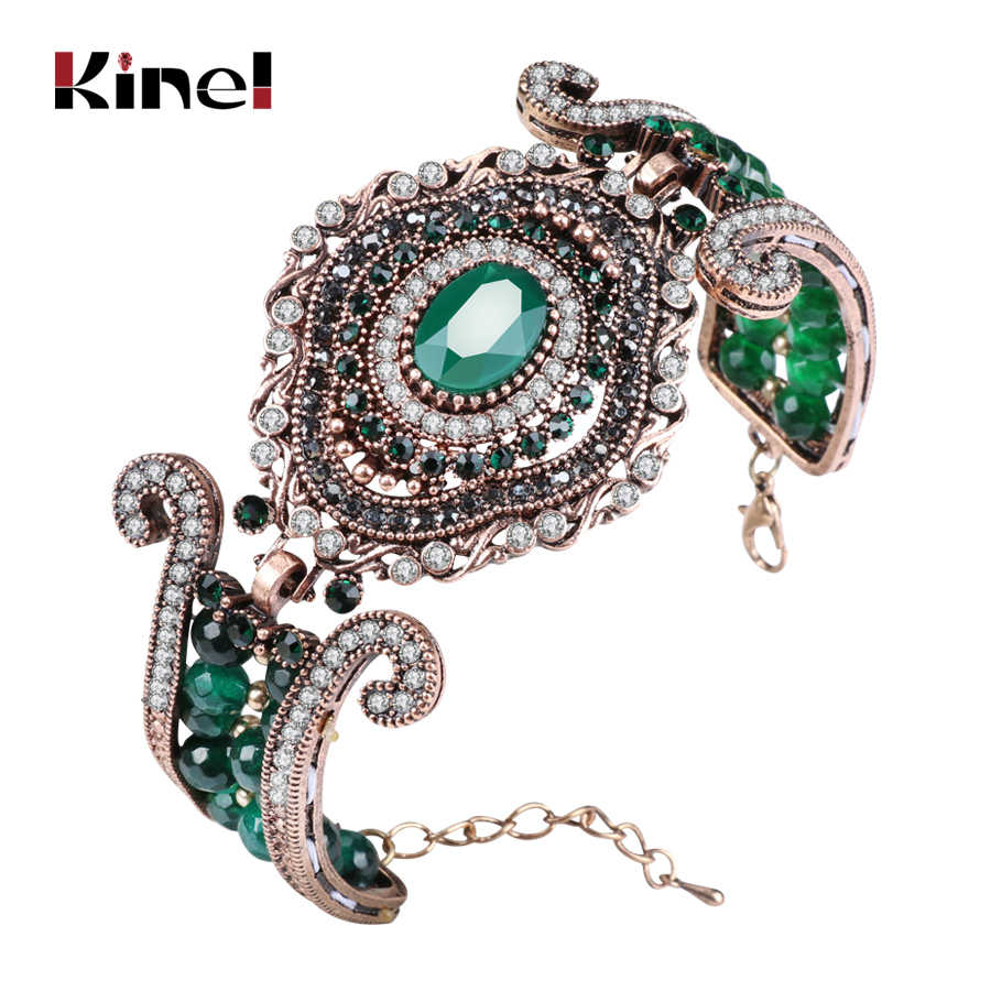 Kinel Luxury Vintage Big Bracelet Green Natural Stone Crystal Beads Bangle For Women Fashion Antique Gold Turkey Jewelry Gift